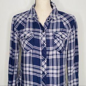 Rails Plaid Lined Oxford Blue Button Shirt